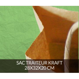 Sac traiteur kraft 28x32 cm - couleur kraft brun
