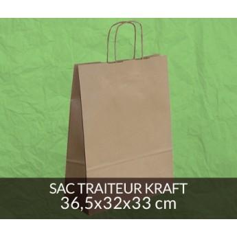 Sac traiteur kraft 36x32 cm - couleur kraft brun